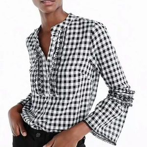 Women's J. Crew Long Sleeve B&W Gingham Popover 0
